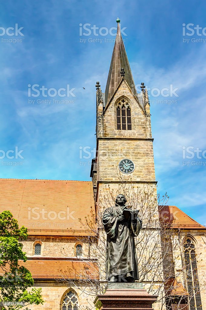 Martin Luther Memorial in Erfurt stock photo
