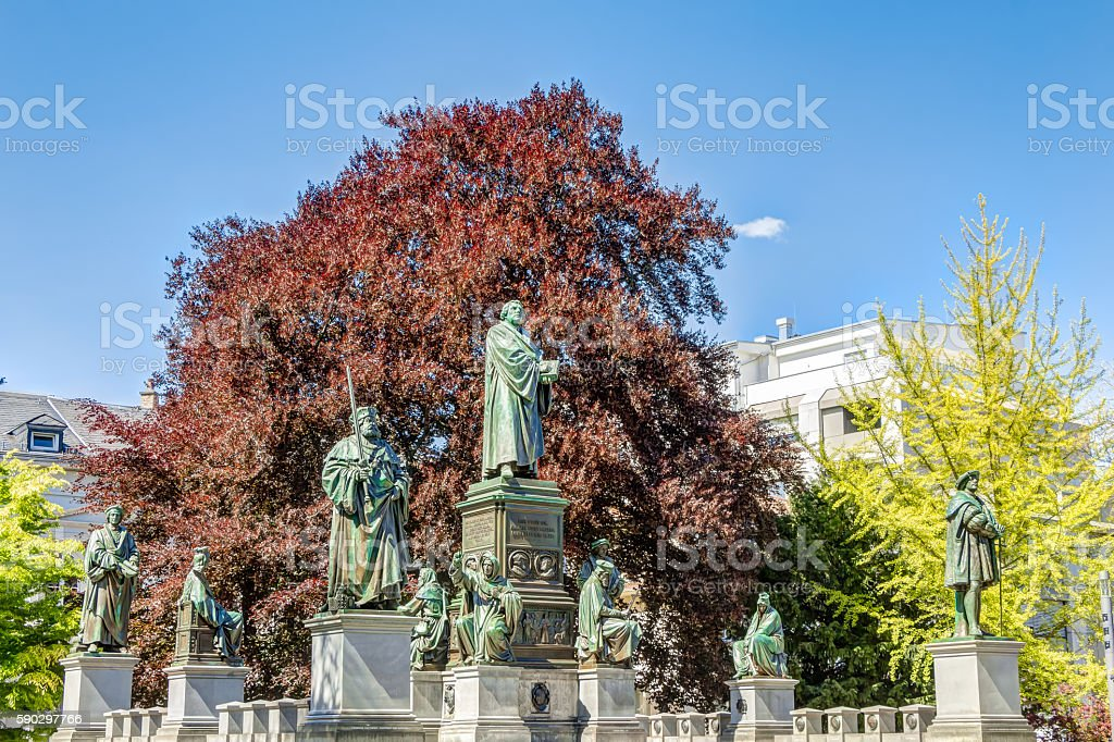 Martin Luther Memorial in Worms stock photo