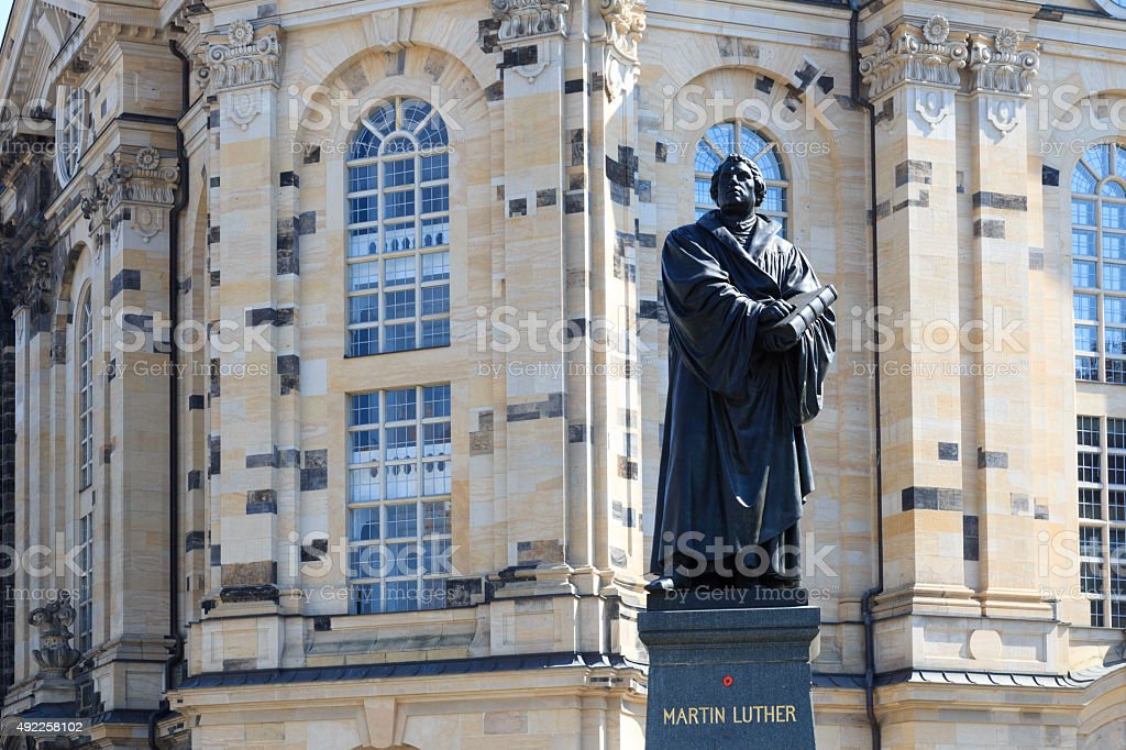 Martin Luther monument on Neumarkt in front of Frauenkirche, Dresden stock photo