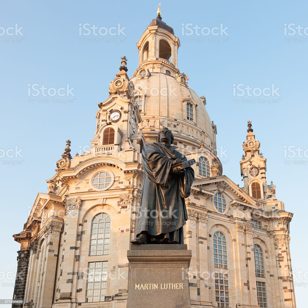 Martin Luther Statue Dresden Frauenkirche Germany royalty-free stock photo