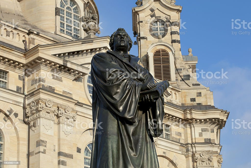 Martin Luther statue in Dresden stock photo