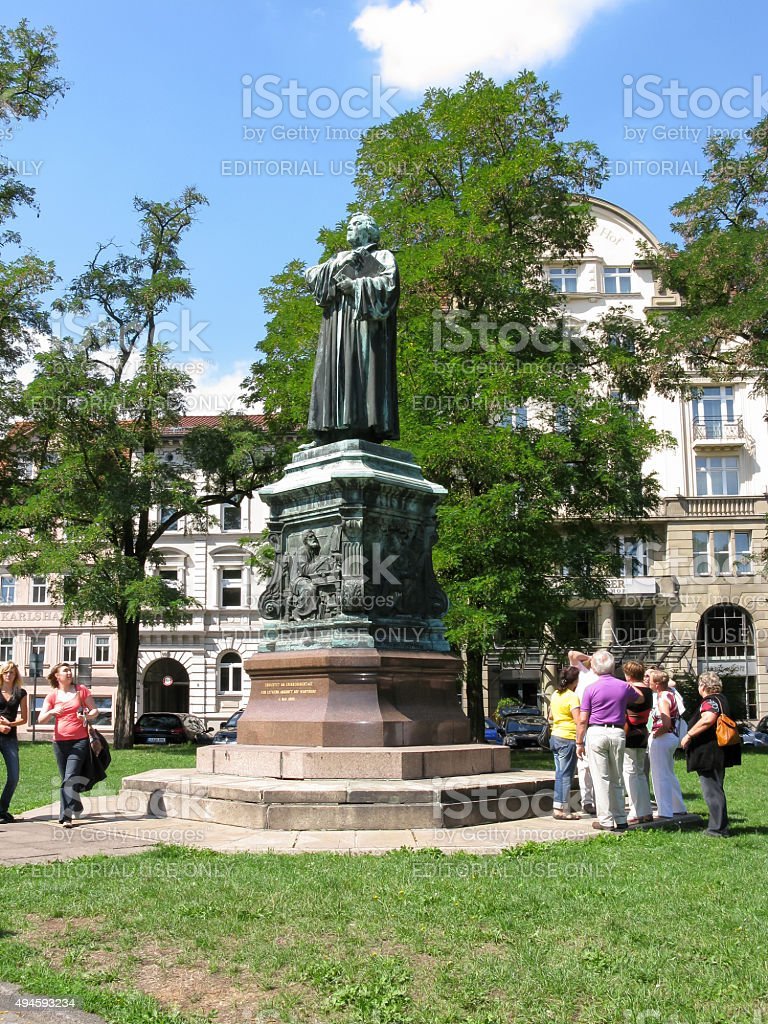 Martin Luther statue in Eisenach, Germany stock photo
