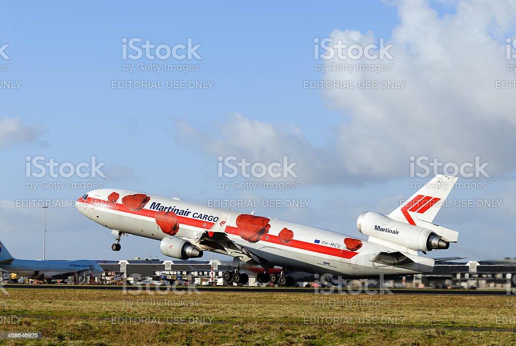 Martinair Cargo airplane taking off stock photo