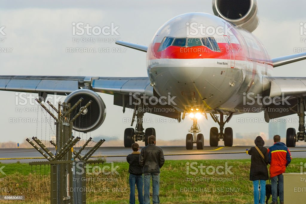 Martinair Cargo airplane taxxing at Schiphol airport stock photo