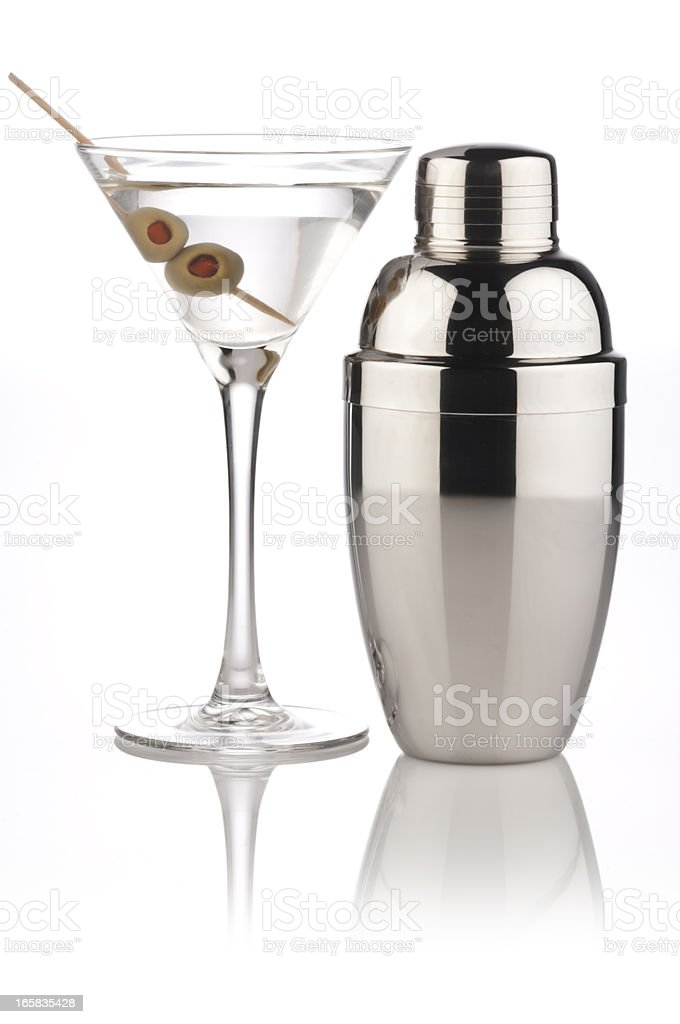 A martini and a metallic shaker stock photo