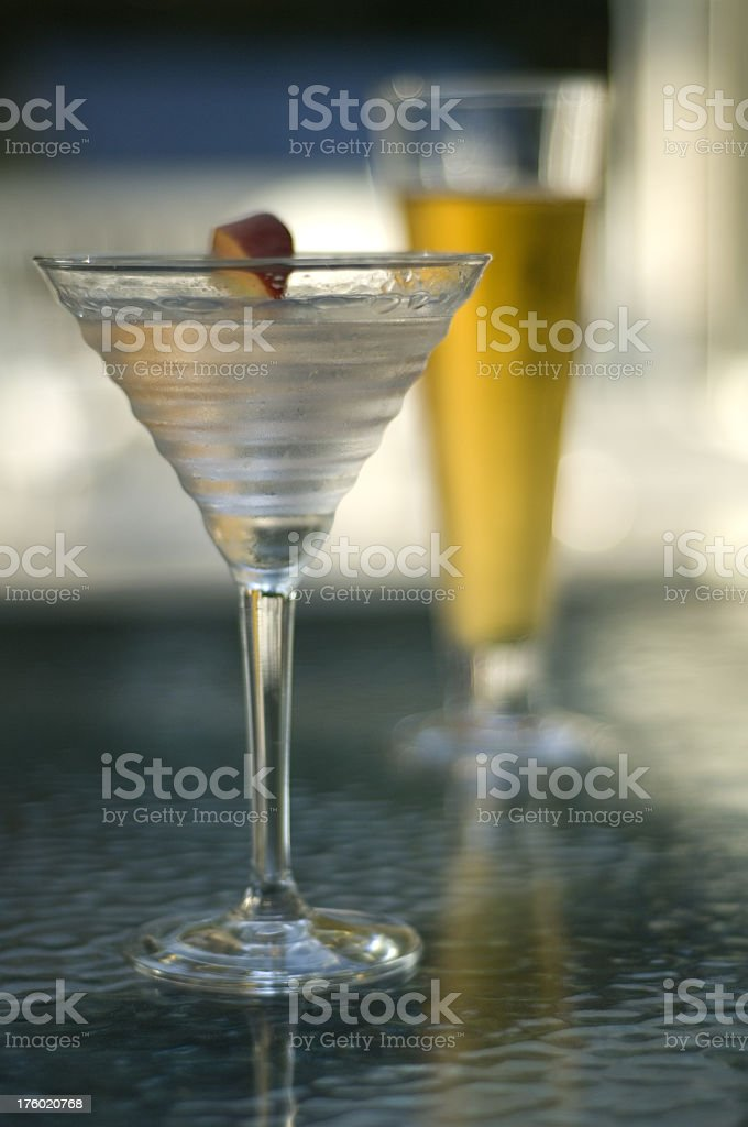 Martini And Beer On The Deck stock photo