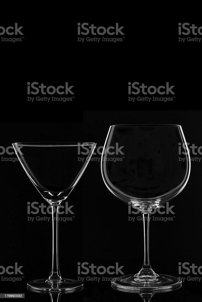 Martini and Wine Glass stock photo