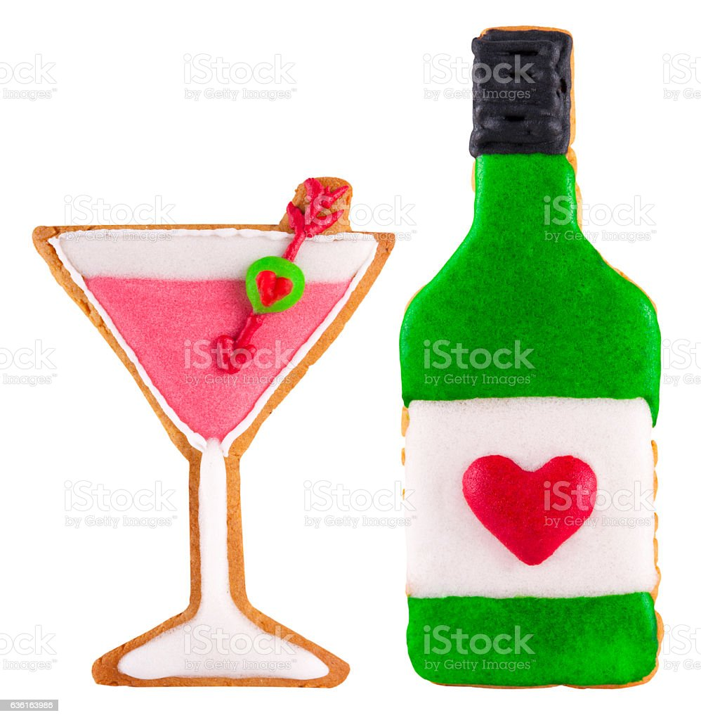 Martini bottle and glass gingerbread cookies. stock photo