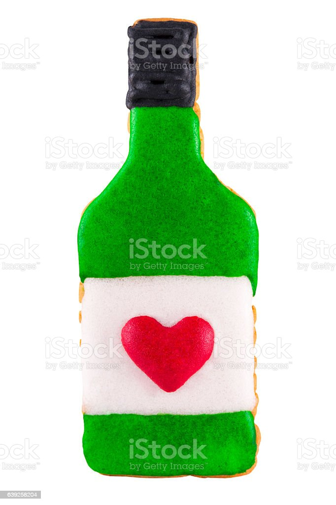 Martini bottle gingerbread cookie isolated. stock photo