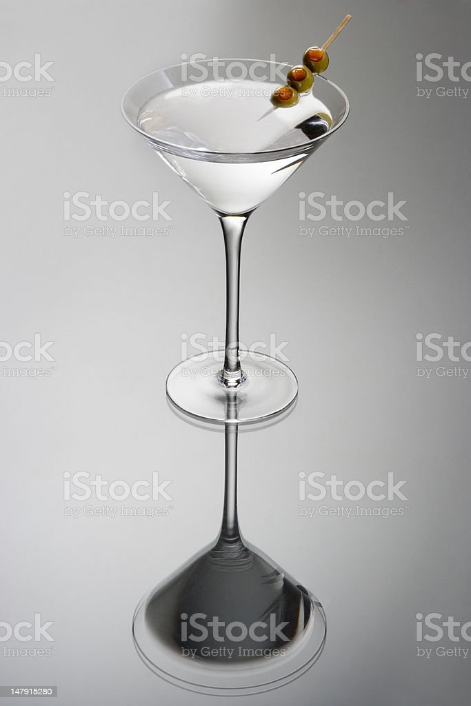 Martini cocktail with olives royalty-free stock photo