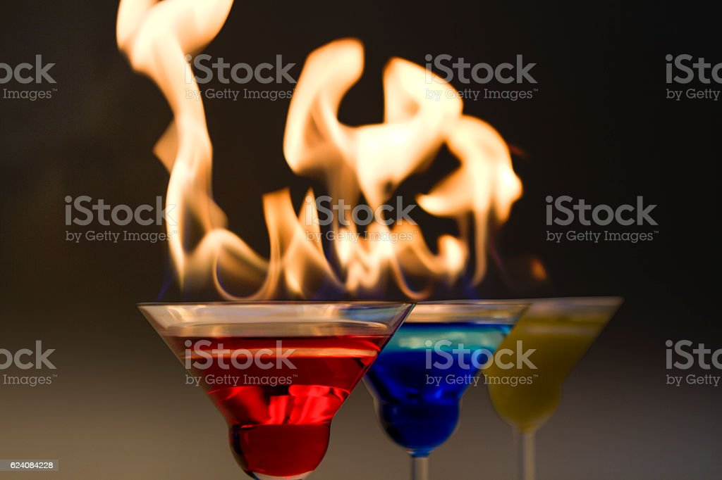 martini collection on black background stock photo