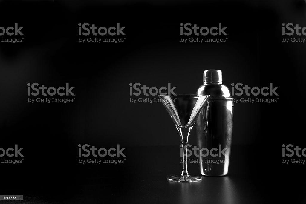 Martini glass and shaker stock photo