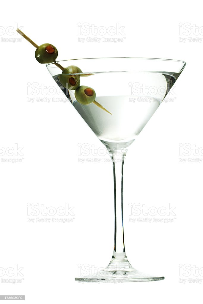 Martini Glass Cocktail, Alcoholic Drink with Olives on Toothpick, Isolated stock photo