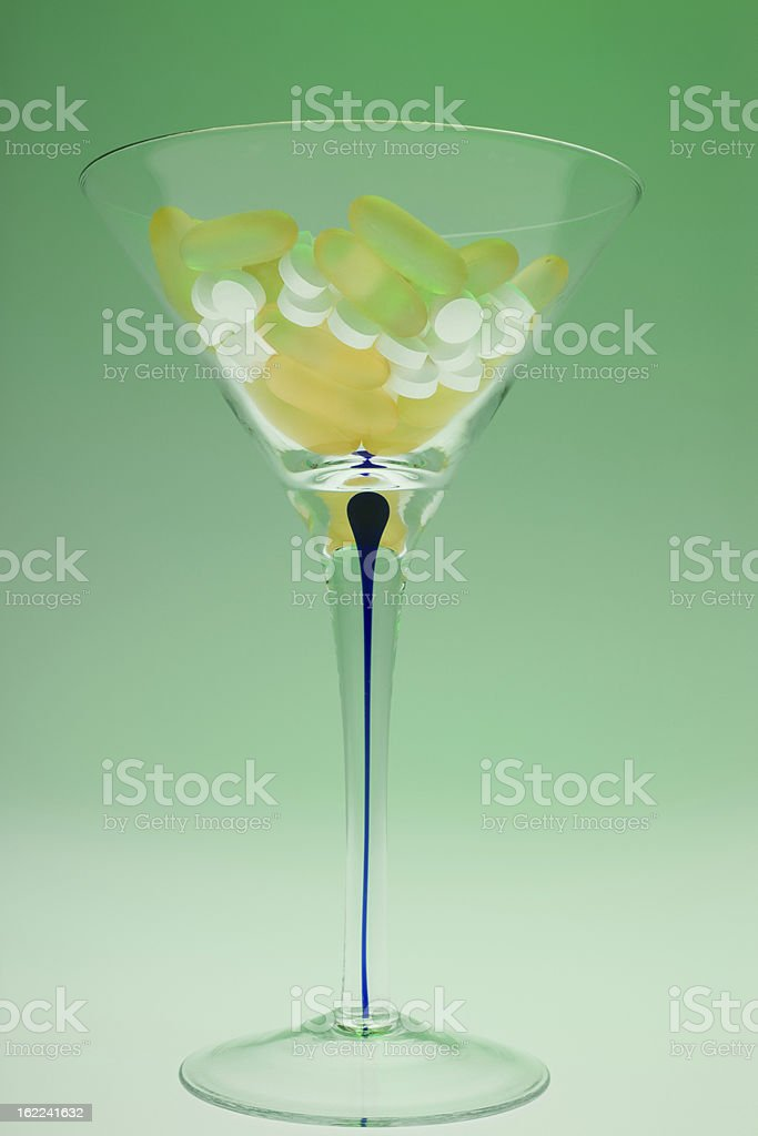 Martini Glass Full of Pills royalty-free stock photo