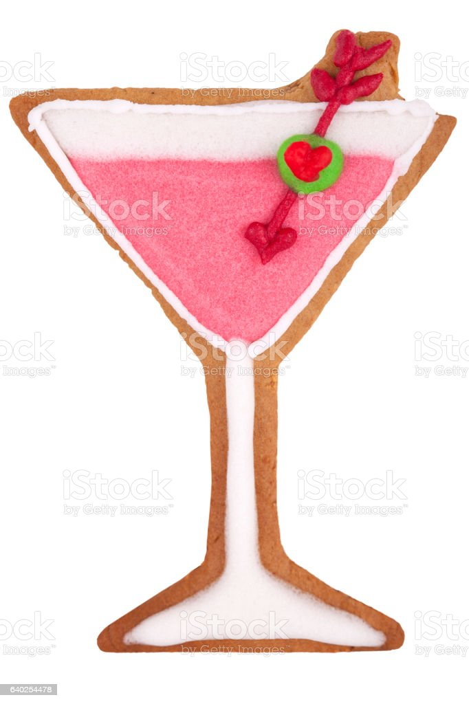 Martini glass gingerbread cookie isolated. stock photo