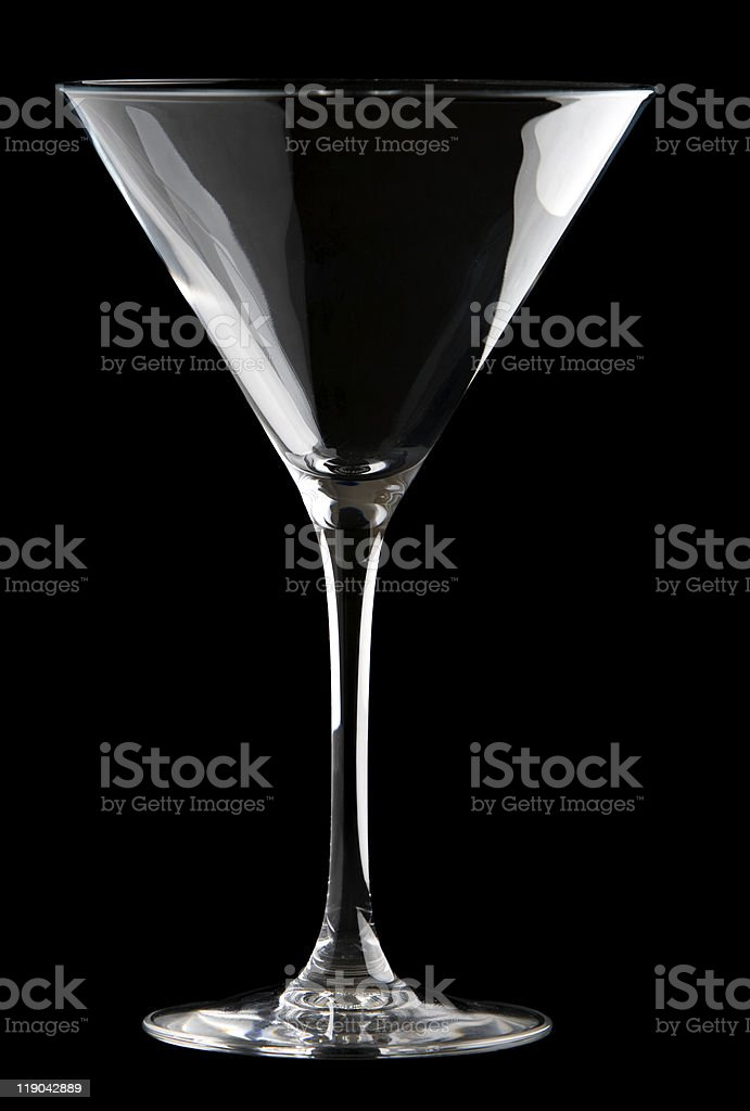 Martini glass isolated on a black background. stock photo
