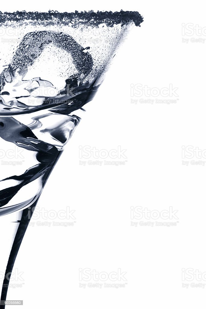 martini glass silhouette with ice cubes sugar and some drink stock photo