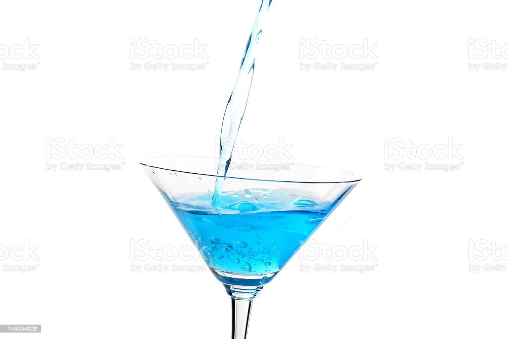 martini glass with blue cocktail 2 royalty-free stock photo