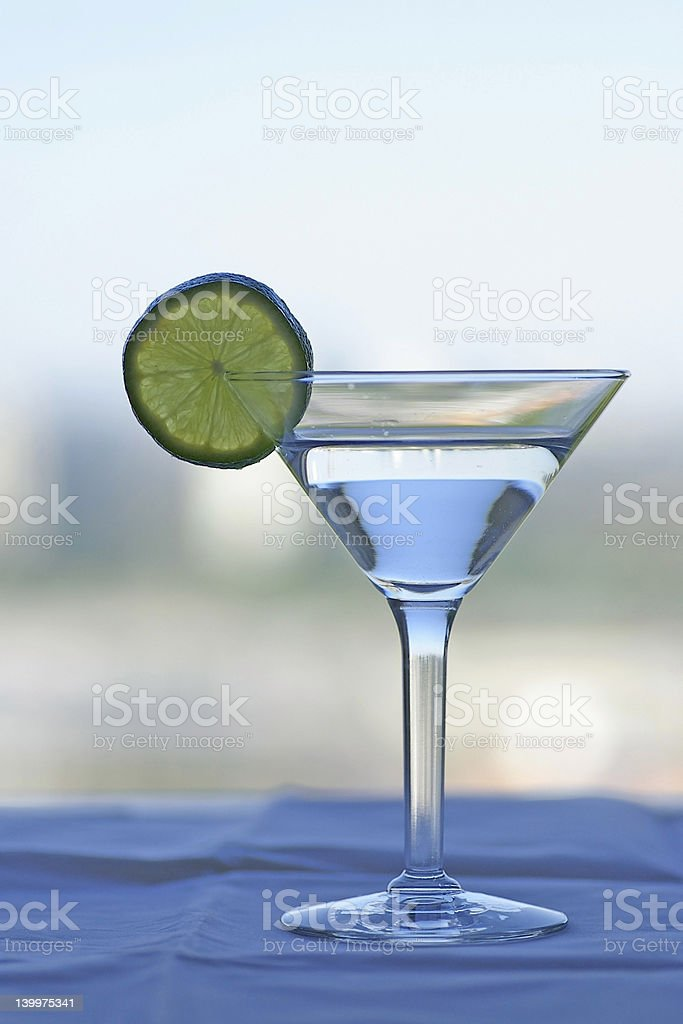 Martini Glass with Lime Slice royalty-free stock photo