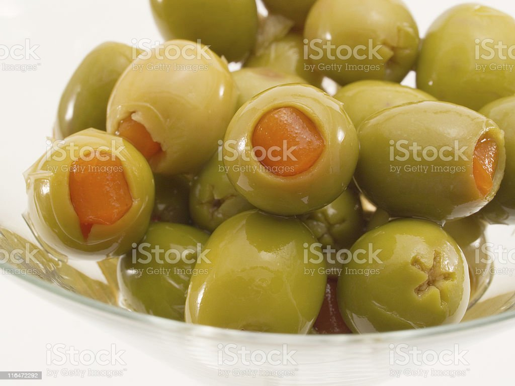 Martini Glass with Olives stock photo