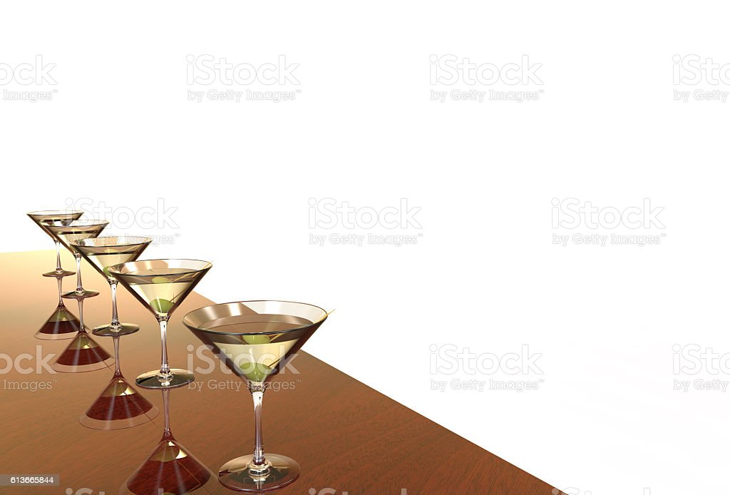 Martini Glasses 3D render stock photo