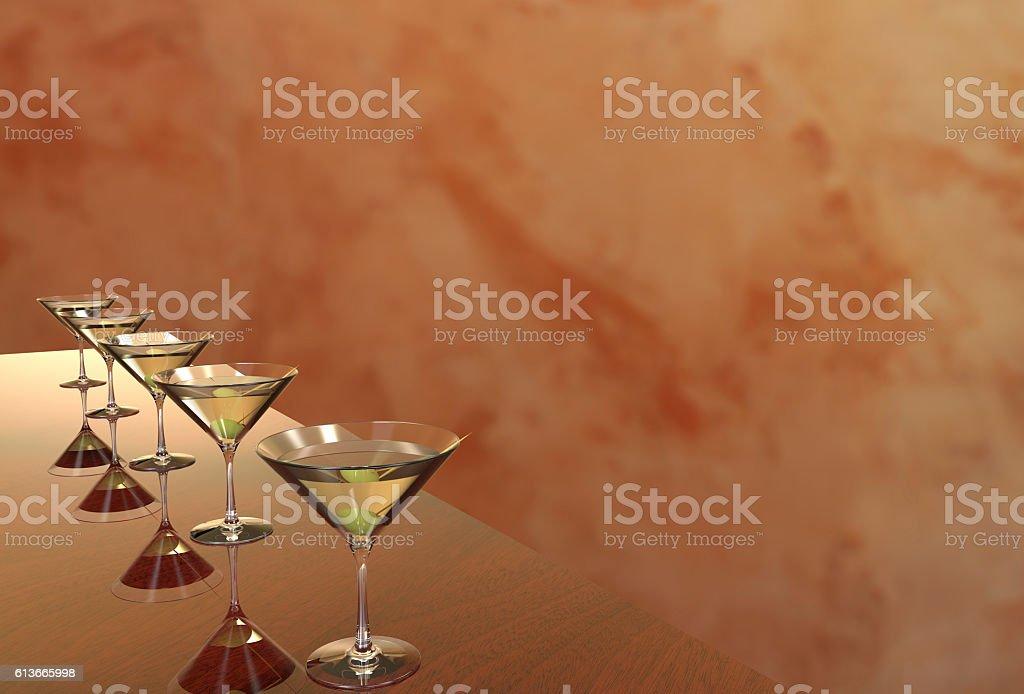Martini Glasses 3D render stock photo