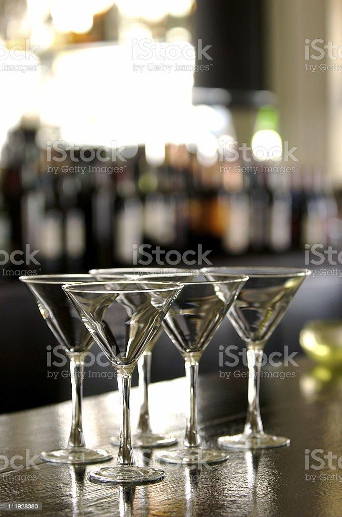 Martini Glasses on Bar stock photo