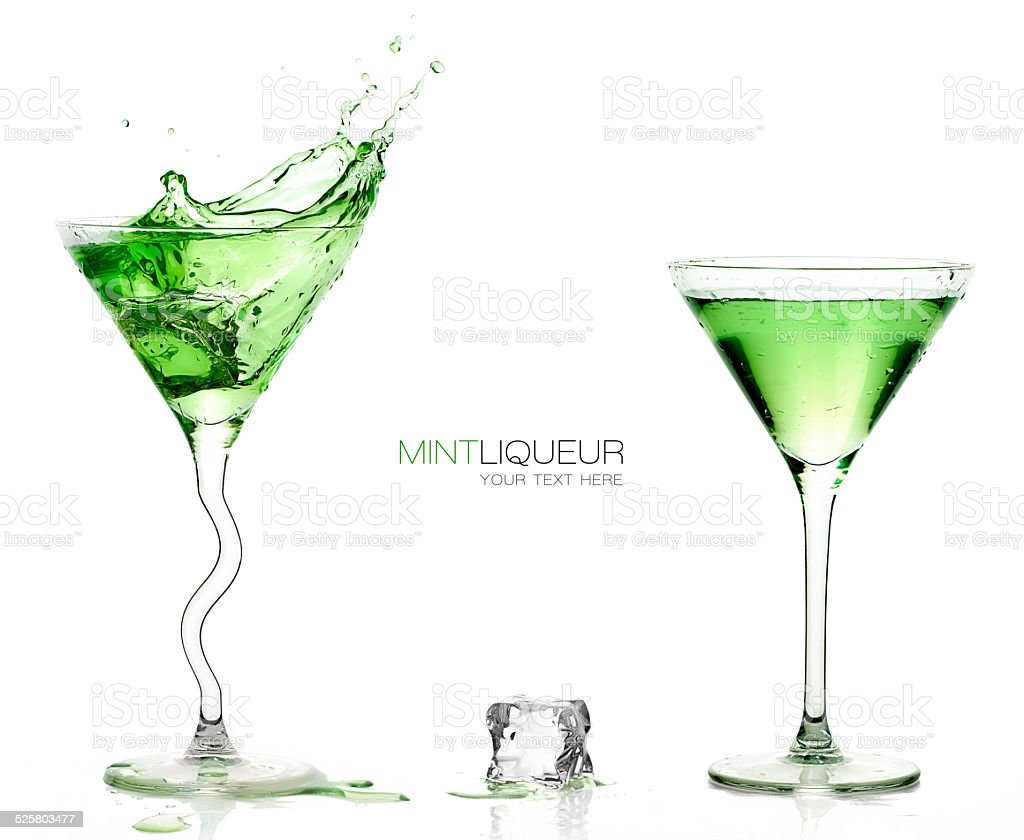 Martini Glasses with Splashing Green Cocktails. Template design stock photo