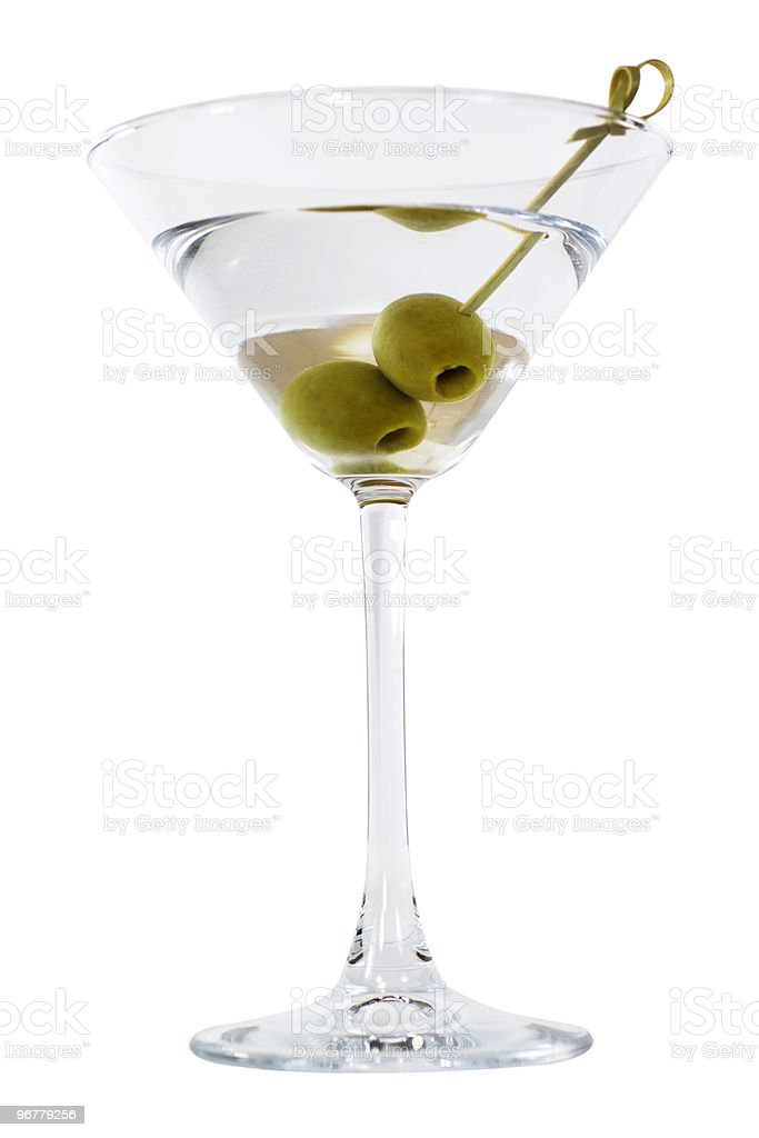 Martini in a Cocktail Glass with Green Olives stock photo