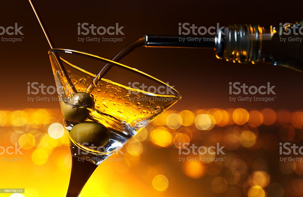 martini on a background of night city stock photo