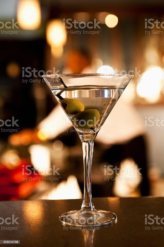 Martini on bar counter in restaurant stock photo
