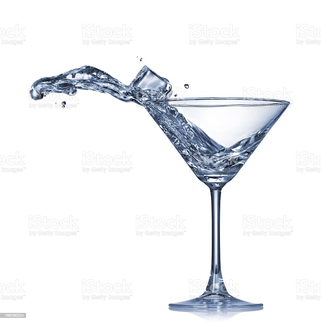 Martini splash in glass isolated on white royalty-free stock photo