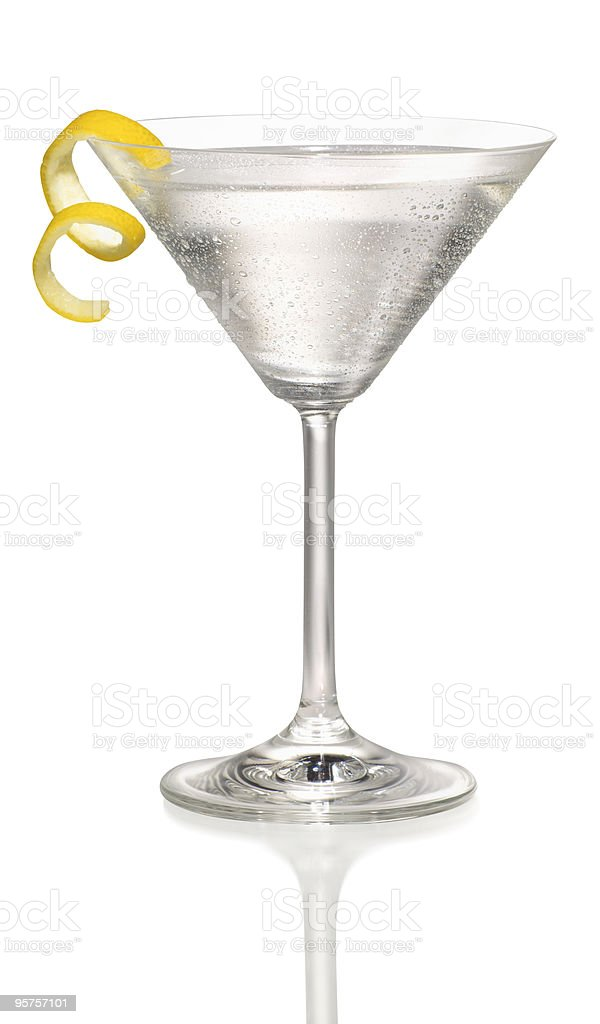 Martini with a lemon twist stock photo