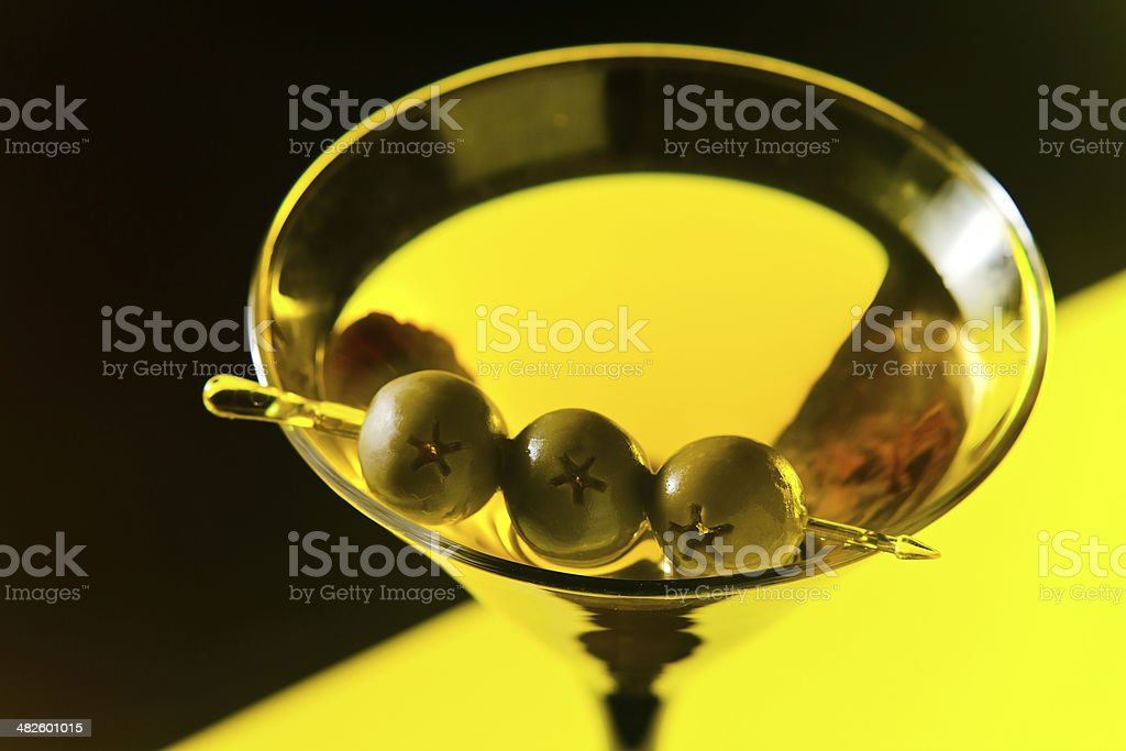 martini with green olives royalty-free stock photo