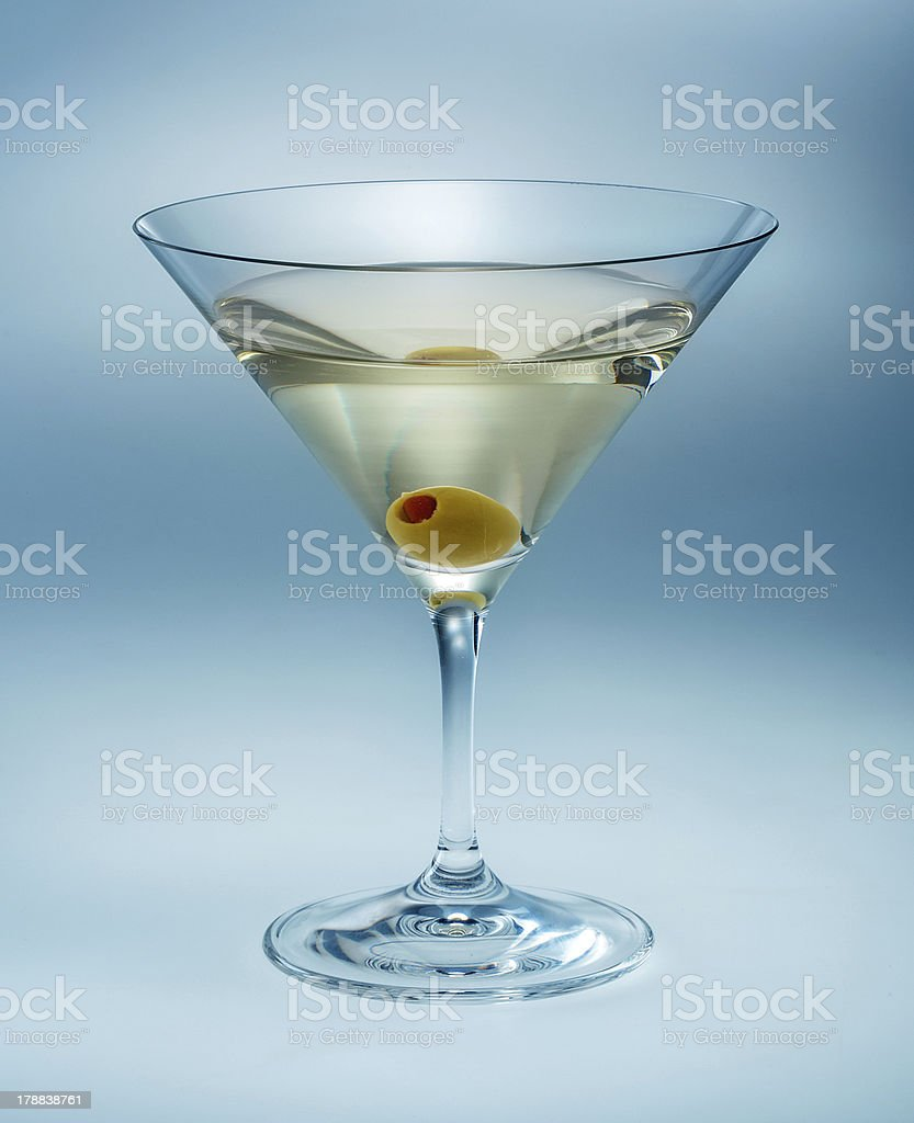 Martini with olive isolated. vermouth stock photo