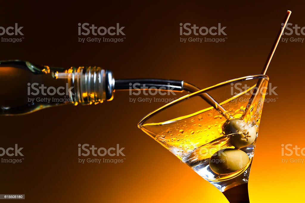 martini with olives stock photo