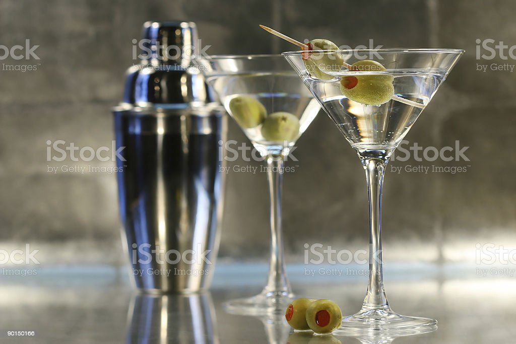 Martinis with shaker stock photo