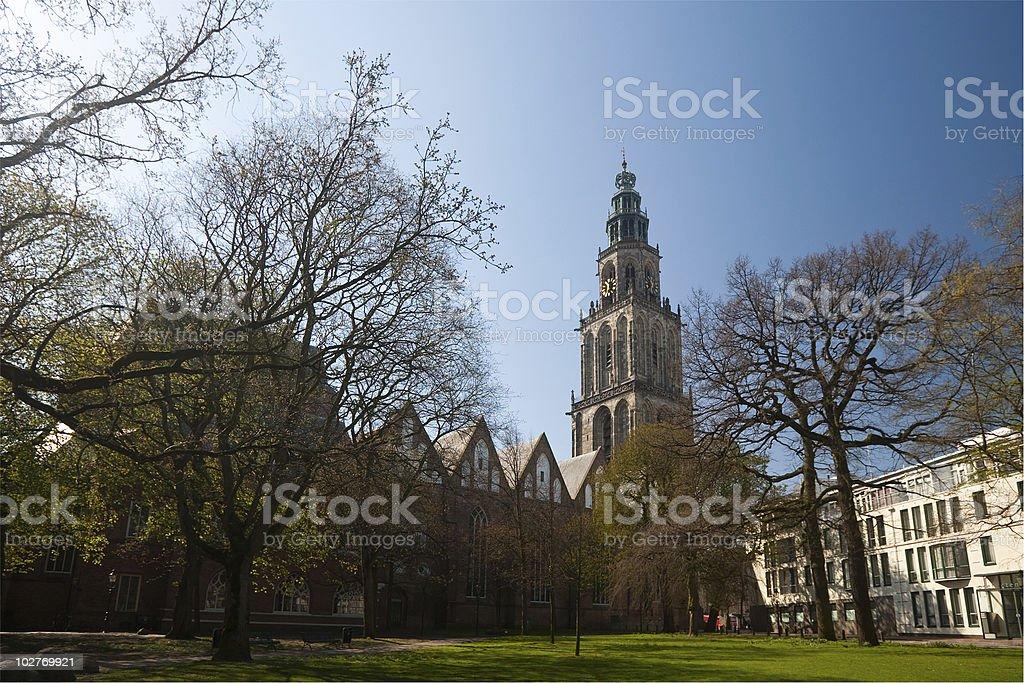 Martinitoren, Groningen with green park stock photo