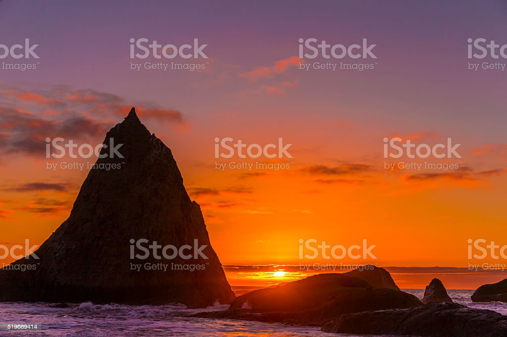 Martins beach near half moon bay at sunset stock photo