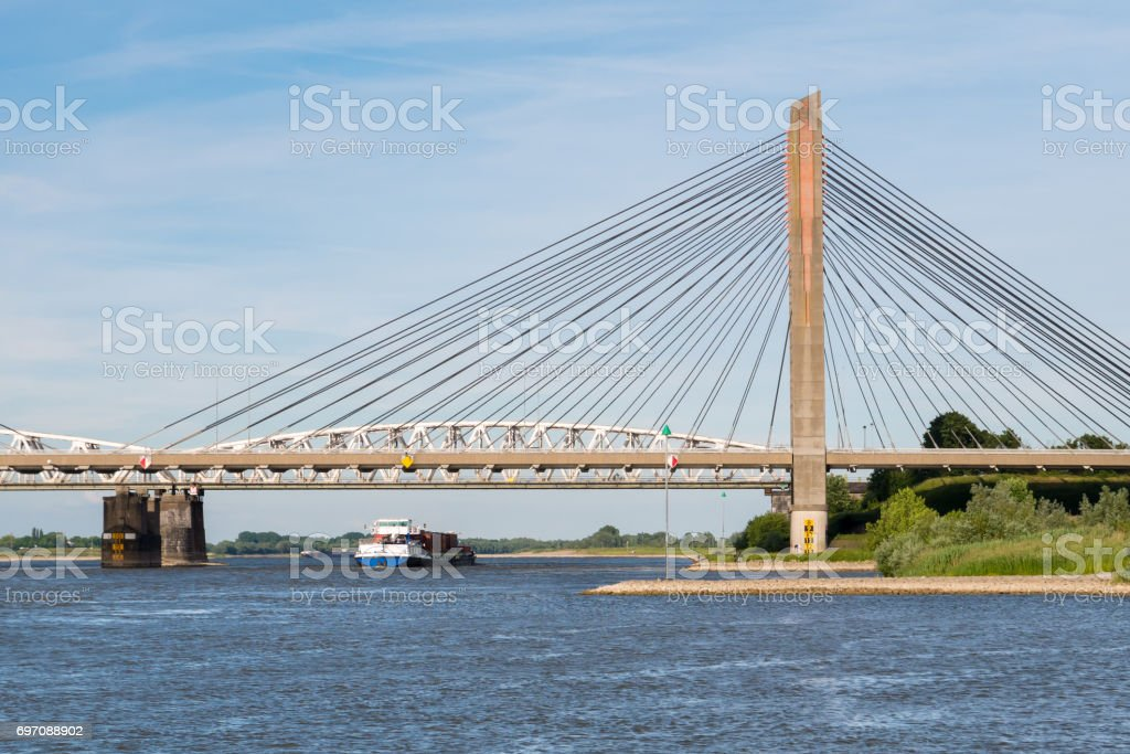 Martinus Nijhoff Bridge and river Waal near Zaltbommel, Netherlands stock photo