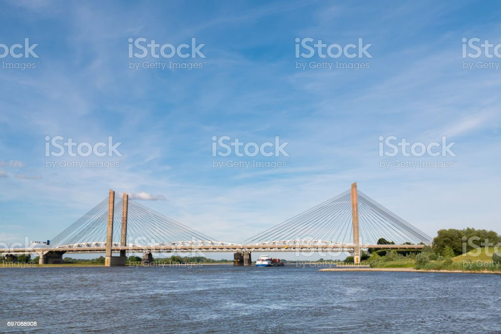 Martinus Nijhoff Bridge and Waal river, Zaltbommel, Netherlands stock photo