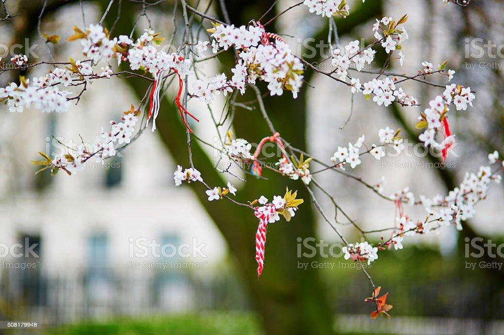 Martisors, symbols of beginning of spring stock photo