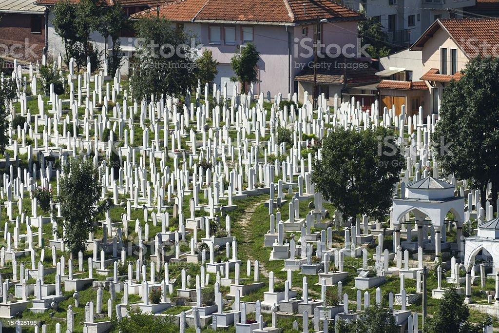 Martyr's Memorial Cemetery Alifakovac in Sarajevo royalty-free stock photo