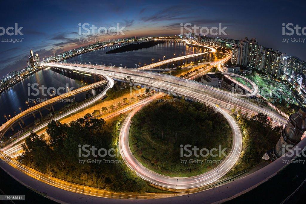 Marvel Of Han River Mapo Bridge stock photo