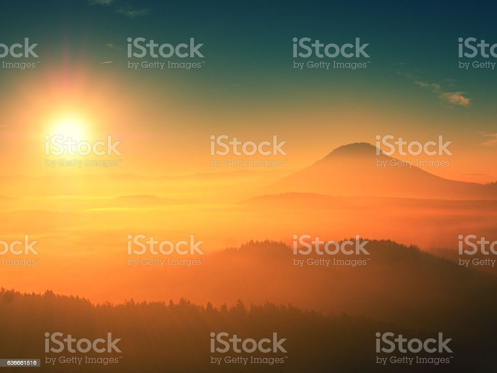 Marvelous daybreak above heavy misty valley. Peaks of high trees stock photo