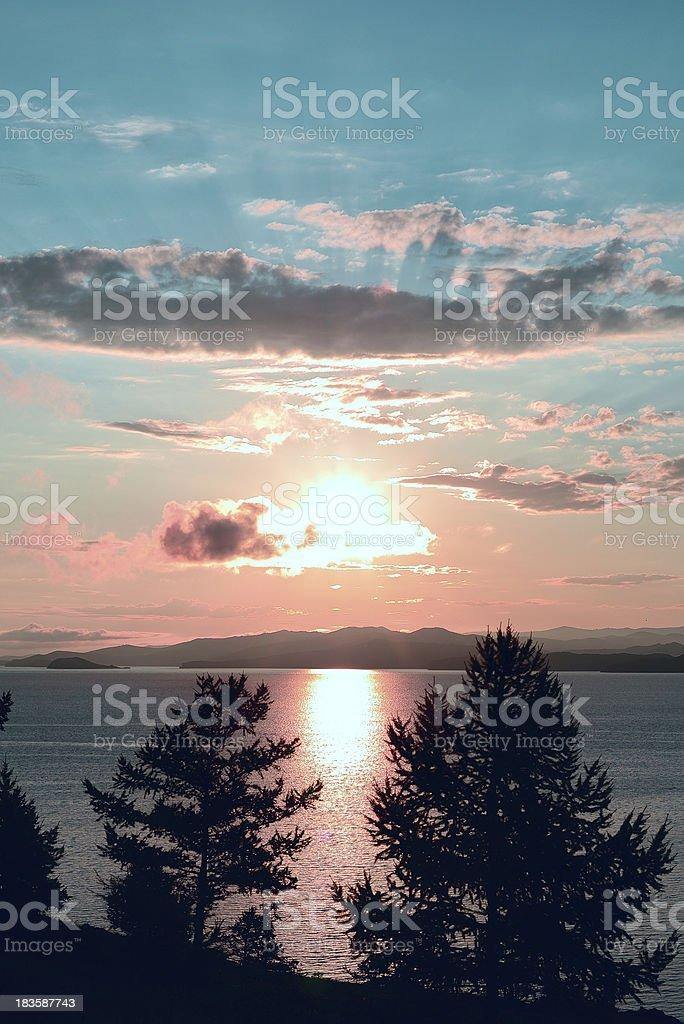 Marvelous sunrise and peaceful lake royalty-free stock photo