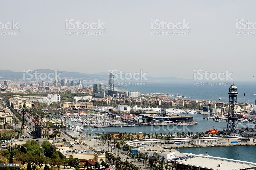 Marvelous View on Barcelona Harbor stock photo