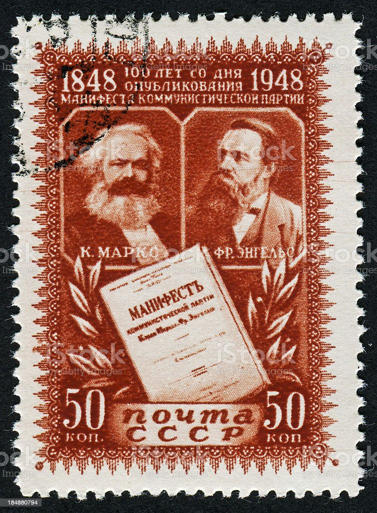 Marx And Engels Stamp stock photo