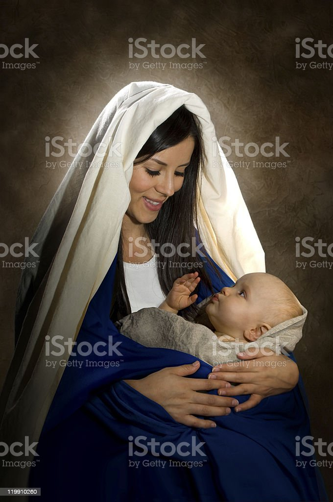 Mary and Jesus stock photo