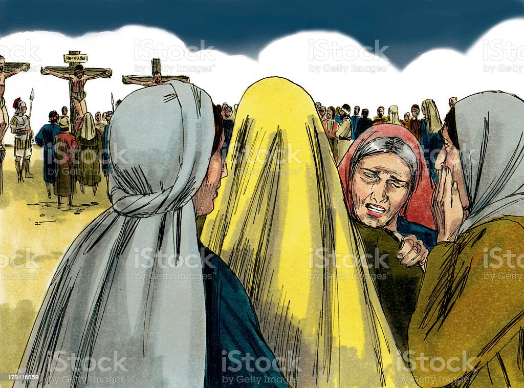 Mary and others at the Crucifixion of Jesus stock photo